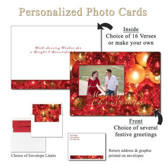 Crackled Ornaments Personalized Photo Greeting Cards