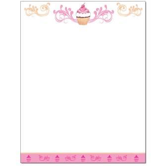 Cupcake Letterhead - 25 pack