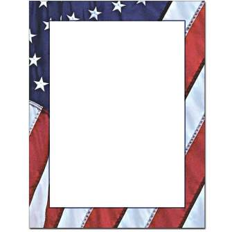 Flag Border Letterhead - 100 pack