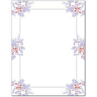Frosted Holly Berries Letterhead - 25 pack