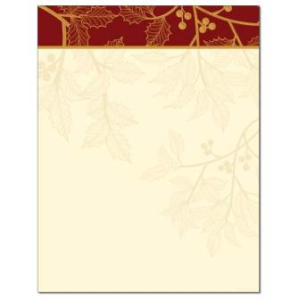 Golden Holly Letterhead - 25 pack
