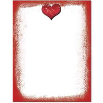 Grunge Heart Letterhead - 25 pack