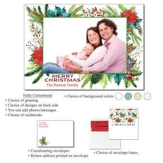 Holiday Frame Personalized Photo Flat Cards