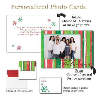 Holiday Stripes Personalized Photo Greeting Cards