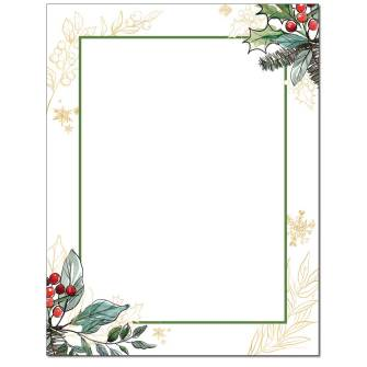 Holly Berries Letterhead - 25 pack