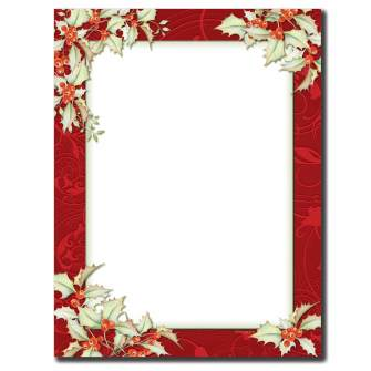 Holly Border Letterhead - 100 pack