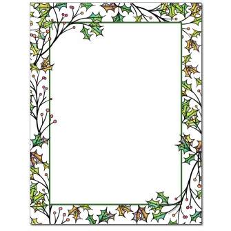 Holly Branches Letterhead - 25 pack