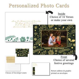 Holly Foil Personalized Photo Greeting Cards