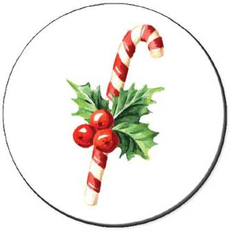 Holly With Candy Canes Seals - 24 Seals
