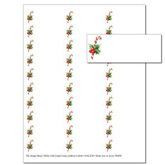 Holly With Candy Canes Address Labels