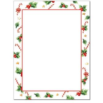 Holly With Candy Canes Letterhead - 25 pack