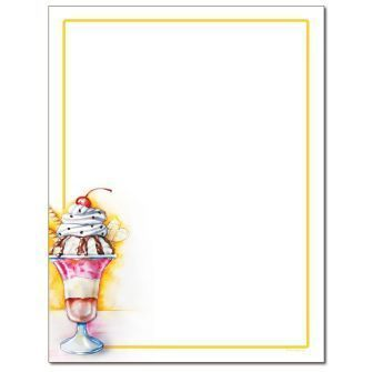 Ice Cream Sundae Letterhead - 25 pack