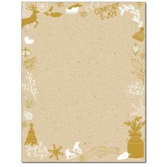 Kraft Christmas Letterhead - 25 pack