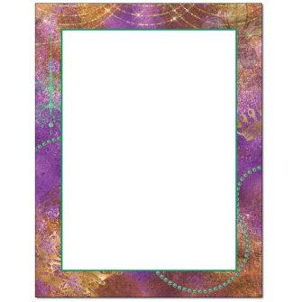 Mardi Gras Colors Letterhead - 25 pack
