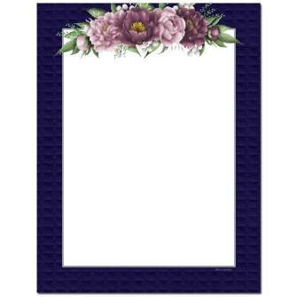 Mauve Flowers Letterhead - 25 pack