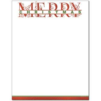 Merry Christmas Letterhead - 25 pack