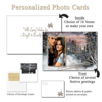 Moody Forest Personalized Photo Greeting Cards