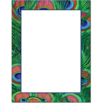 Peacock Feathers Letterhead - 25 pack