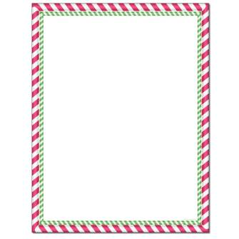 Peppermint Stripes Letterhead - 100 pack