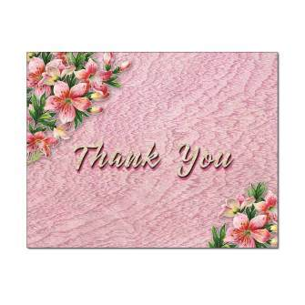 Pink Lilies Thank You Card