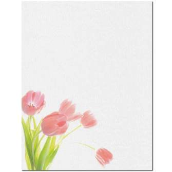 Pink Tulips Letterhead - 25 pack