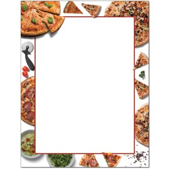 Pizza Party Letterhead - 100 pack