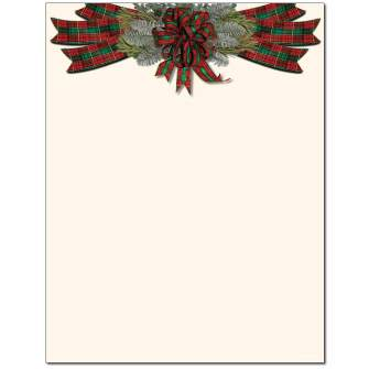 Plaid Bow Letterhead - 25 pack