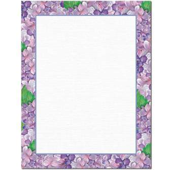 Purple Hydrangeas Letterhead - 100 pack