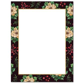 Royal Poinsettia Border Letterhead - 100 Sheets