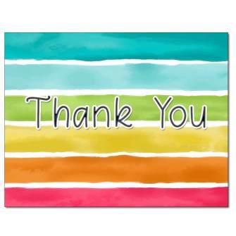 Rainbow Stripes Thank You Card