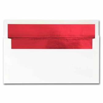 White Red Foil Envelopes - 50 Pack