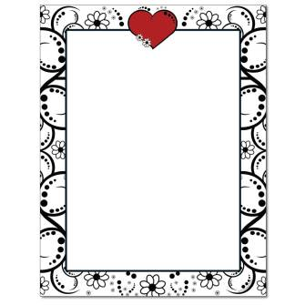 Red Heart & Flowers Letterhead - 100 pack