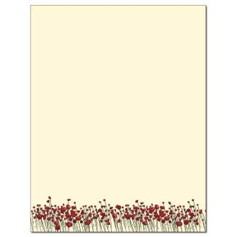 Red Poppies Letterhead - 25 pack