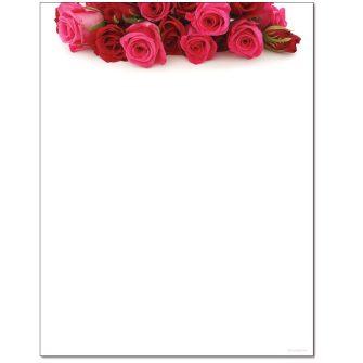 Rose Bouquet Letterhead - 25 pack