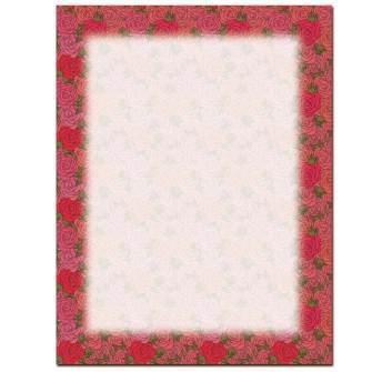 Rosy Border Letterhead - 100 pack
