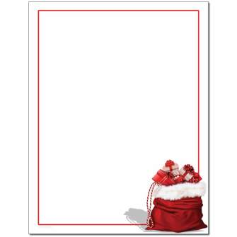 Santa's Bag Letterhead - 25 pack