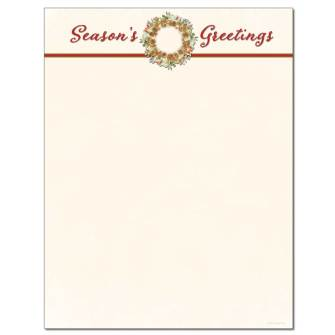 Season's Greetings Wreath Letterhead - 25 pack