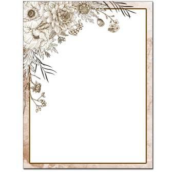 Sepia Flowers Letterhead - 25 pack