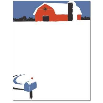 Snowy Barn Letterhead - 25 pack