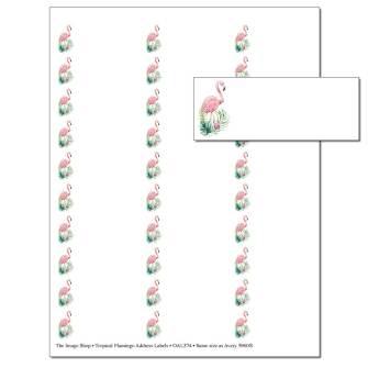 Tropical Flamingos Address Labels