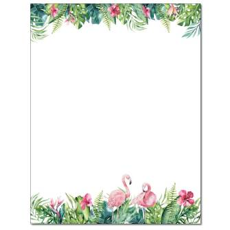 Tropical Flamingos Letterhead - 25 pack