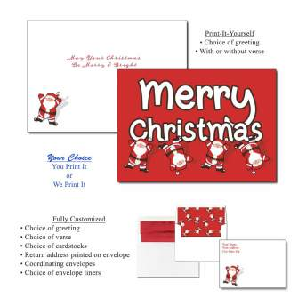 Tumbling Santa Greeting Cards