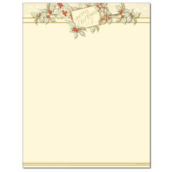Vintage Christmas Letterhead - 25 pack