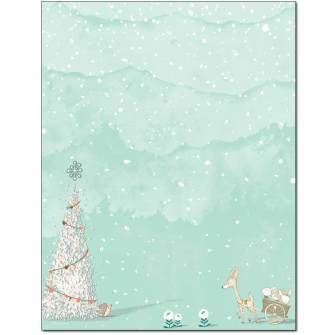 Woodland Christmas Letterhead - 100 pack
