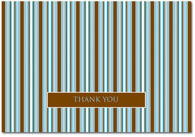 Brown & Blue Stripes Thank You Note Card