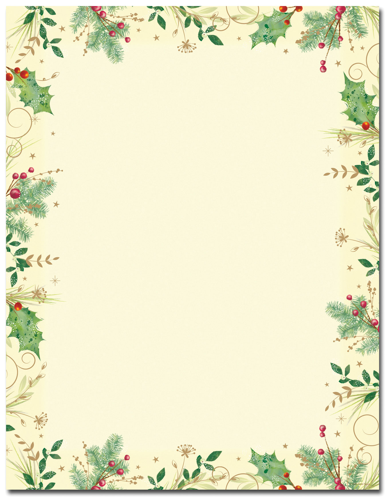 Holly-Branches-Holiday-Letterhead