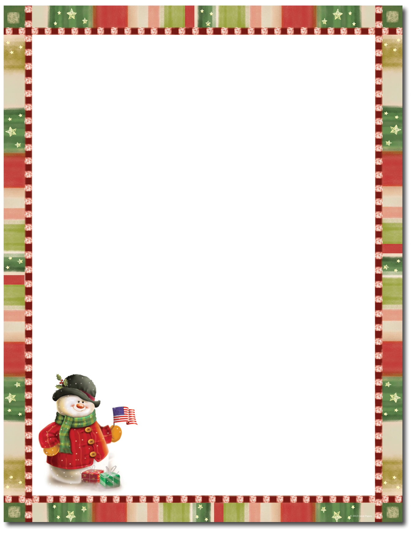 free holiday stationery templates - great papers patriotic snowman letterhead