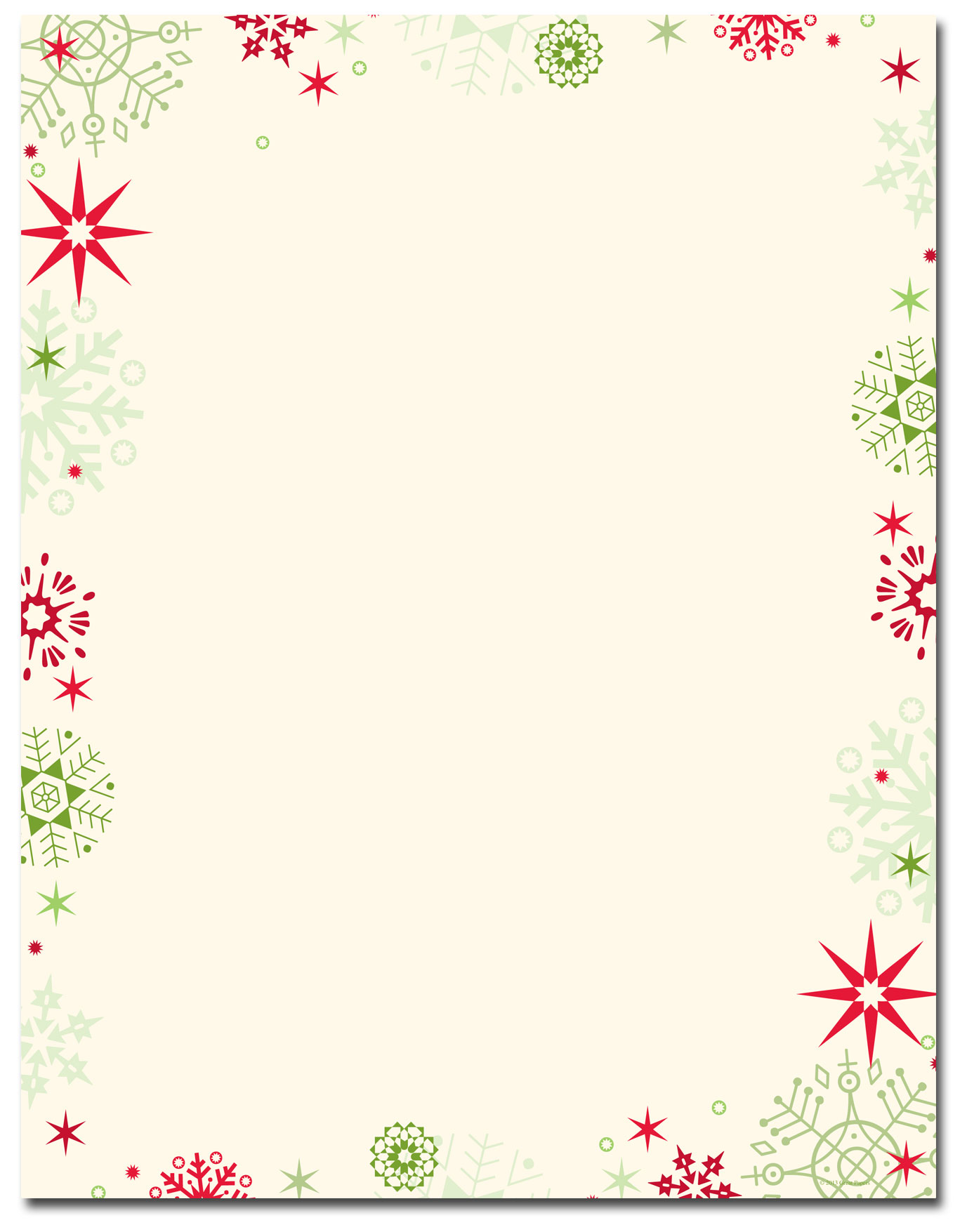 Christmas Stationery - Red u0026 Green Flakes Letterhead