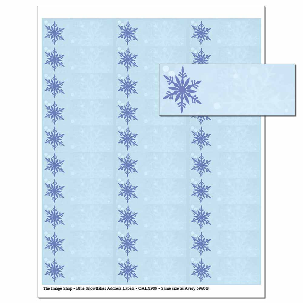 Blue Snowflakes Address Labels