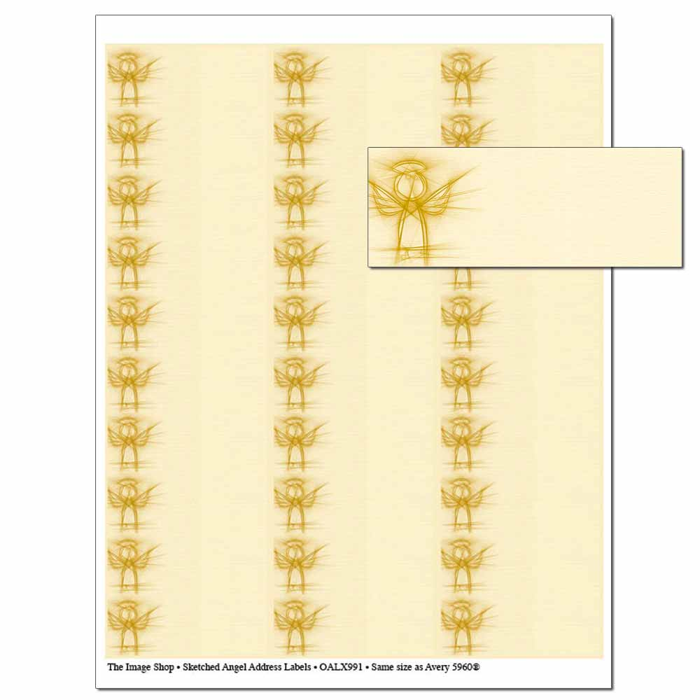 Sketched Angel Address Labels